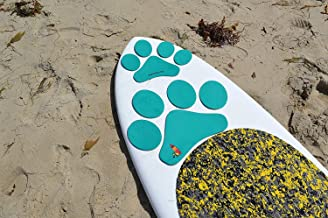 Paddle with your dog Pup Deck SUP Traction Pad for Dogs Stand Up Paddleboard Deck Padding. Teal Paw prints