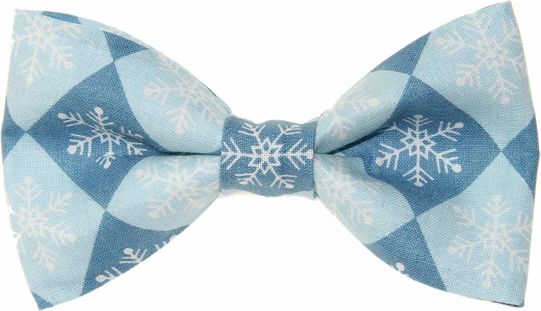 Men's Blue Checkered Snowflakes Clip On Cotton Bow Tie