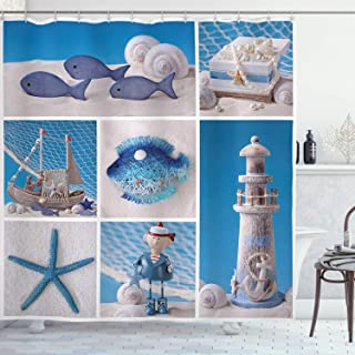Ambesonne Nautical Shower Curtain by, Marine Theme Design Objects Fishes Shells Starfishes Pearls Lighthouse Sailboat, Fabric Bathroom Decor Set with Hooks, 70 Inches, Blue White