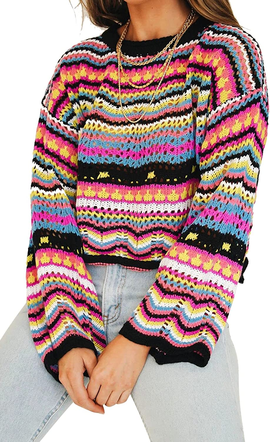 Linsery Women Y2k Crochet Sweater Round Neck Flare Sleeve Color Striped Pullover Jumper Tops