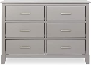 Dream On Me Universal Double Dresser, Kids Bedroom Dresser, Six Drawers Dresser, Mid Century Modern, Metallic Grey