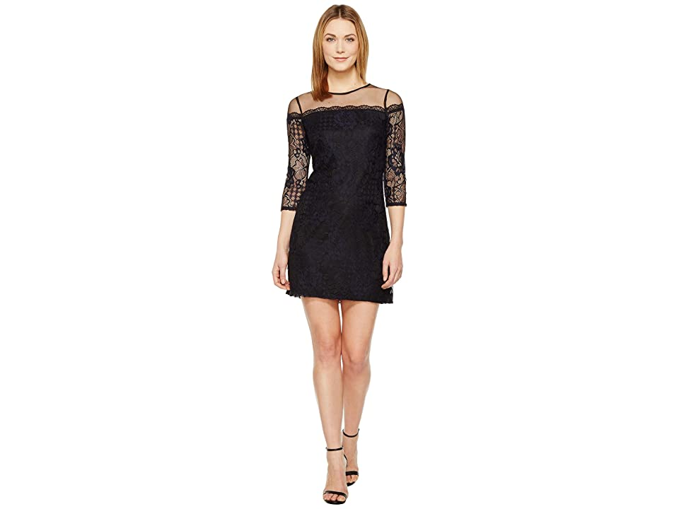 Adrianna Papell Adele Lace Shift Dress (Black/Navy) Women