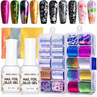 Modelones Foil Glue Nail Art with Starry Sky Star Foil Stickers Set Nail Transfer Tips Manicure Art DIY, 23 PCS Nail Stick...