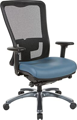 Pro-Line II ProGrid High Back Manager's Chair with Breathable Mesh and Adjustable Lumbar Support, Titanium Finish Base, Dillon Blue