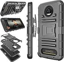 Moto Z2 Play Case, Motorola Z2 Play Holster Clip, Tekcoo [Hoplite] Shock Absorbing [Black] Swivel Locking Belt Defender Full Body Kickstand Carrying Armor Cases Cover for Motorola Moto Z Play 2017