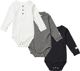 Tiny One Lot de 3 bodys à manches longues pour bébé - En coton biologique certifié GOTS - Blanc cassé, gris moyen et gris ...
