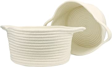 Orino Cotton Rope Storage Baskets with Handles Soft Durable Laundry Baskets Toy Storage Nursery Bins Home Decorations Blanket Basket, Set of 2 (11.81x10.23x6.23 inch, Medium, Off White)