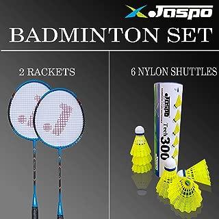 Jaspo Cosmo100 JOINTLESS Aluminium Blend with Nylon Shuttle Pack (2 Racquets + 6Nylon Shuttles + Bag)