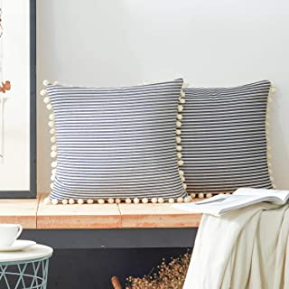 COMHO Cotton Woven Stripe Throw Pillow Covers with Pom Poms, Decorative Cushion Covers, Square Farmhouse Pillowcases, for Sofa Bedroom Couch Chair 20x20 Inch (Navy Blue, Pack of 2)