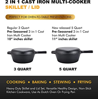 2-In-1 Cast Iron Multi-Cooker – Heavy Duty Skillet and Lid Set, Versatile Healthy Design, Non-Stick Kitchen Cookware, Use As