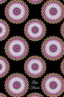 Lotus Flower: Lined Journal - Lavender, White, and Orange vector art on a black background
