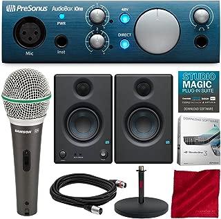 PreSonus AudioBox iOne 2x2 USB Recording System with PreSonus Eris E3.5 Multimedia Reference Monitors, Samson Microphone, and Deluxe Bundle