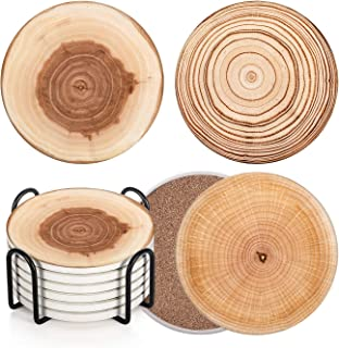 Vintage wooden Dutch themed wooden coasters Set of 6 with porcelain centerpiece and wooden storage stand