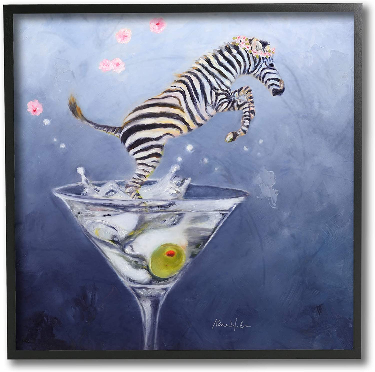 Limited price Stupell Industries Zebra Cheap bargain Leaping from Desig Olive Glass Martini
