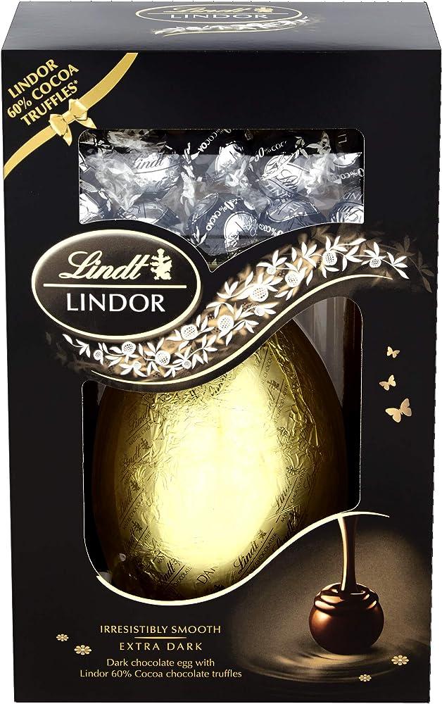 Lindt,uovo di cioccolato fondente piu` tartufi al ciccolatto fondente,285 g,vegetariano