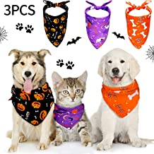 Frienda 3 Pieces Halloween Dog Bandanas Thanksgiving Pet Bandana Pumpkin Pet Scarf Neckerchief Washable Dog Bibs for Dog and Cat, Orange, Purple and Black