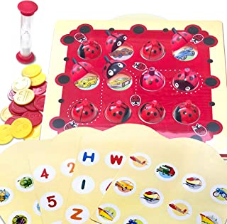Gamie Ladybug Memory Matching Game for Kids - Fun Educational Learning Toy with 8 Match Games - Teaches Memory, Alphabets, Numbers, Colors and More - for Boys, Girls, Preschoolers