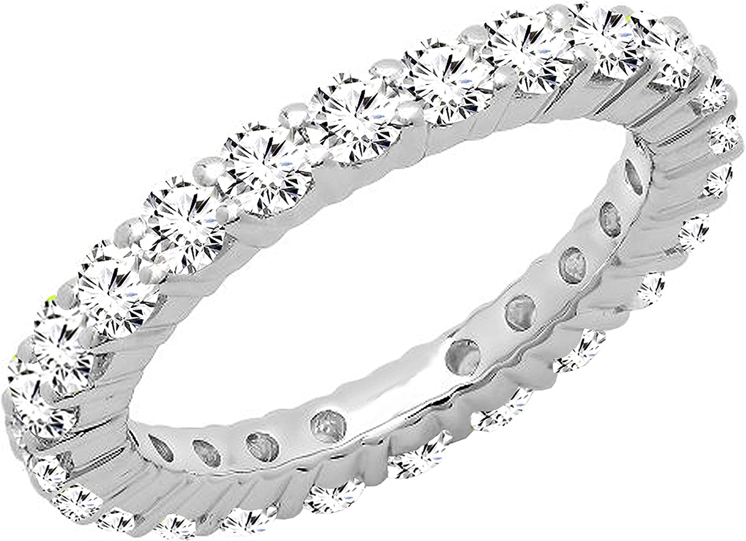 Dazzlingrock Collection 1.70 Carat (ctw) Round White Cubic Zirconia CZ Eternity Wedding Stackable Band, 10K Gold
