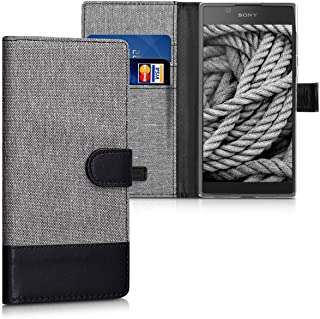 kwmobile Wallet Case for Sony Xperia L1 - Fabric and PU Leather Flip Cover with Card Slots and Stand - Grey/Black