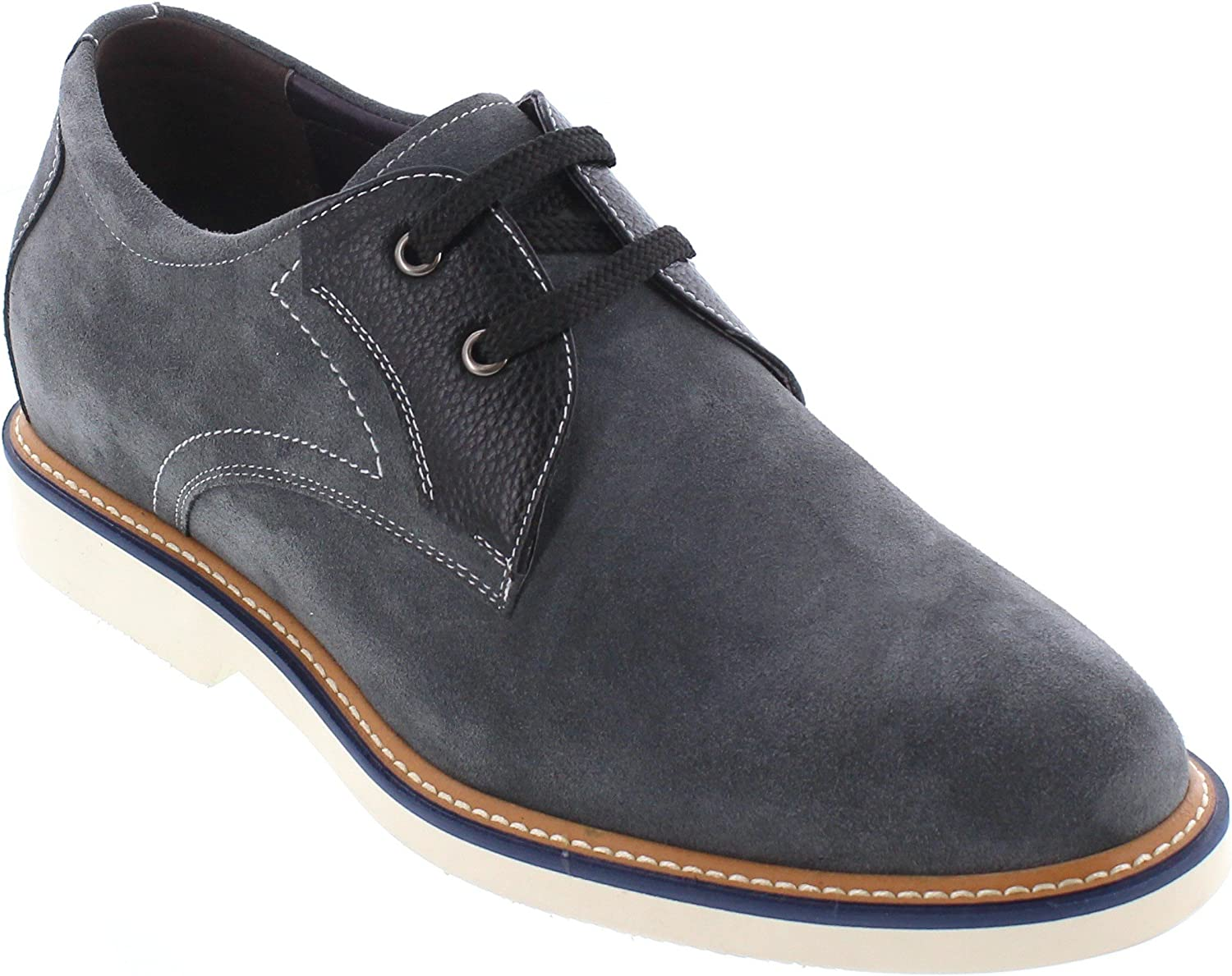 CALTO Men's Invisible Height Increasing Elevator shoes - Grey Black Nubuck Leather Lace-up Casual Oxfords - 2.8 Inches Taller - Y42023