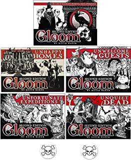 Gloom Card Game Bundle of Gloom, Unhappy Homes, Unwelcome Guests, Unfortunate Expeditions, and Unquiet Dead Second Edition...