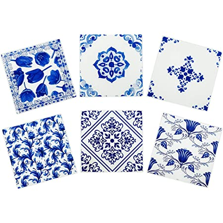 Set of 4 Solid Ceramic Square Floral Blue Coasters Mugs Home Kitchen Coasters