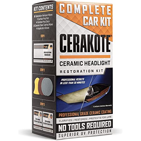 CERAKOTE Ceramic Headlight Restoration Kit – Guaranteed To Last As Long As You Own Your Vehicle – Brings Headlights back to Like New Condition - 3 Easy Steps - No Power Tools Required