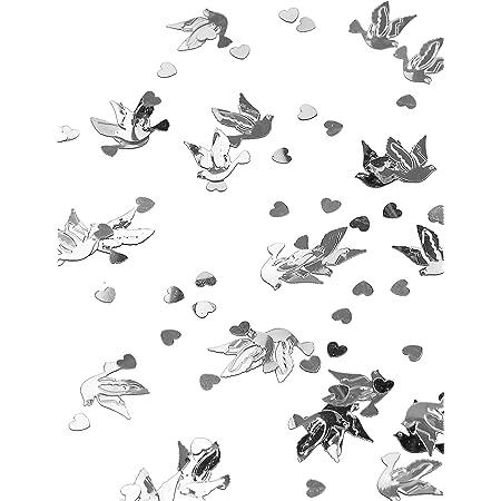 Confettis de table colombes et coeurs argent