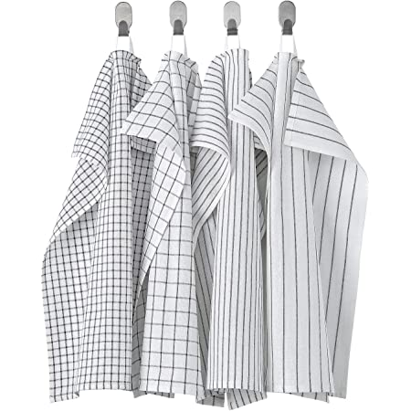 IKEA/イケア RINNIG/リンニング:キッチンクロス45x60 cm 4枚セット ホワイト/ダークグレー(804.763.48)