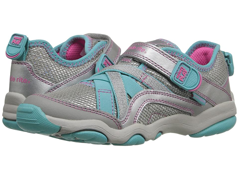 Stride Rite M2P Serena (Little Kid) (Silver/Blue) Girls Shoes
