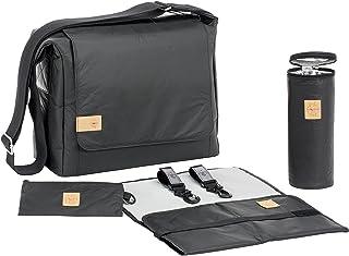 LÄSSIG Baby Wickeltasche Stylische nachhaltig Umhängetasche inkl. Zubehör / Messenger Bag Tyvek, schwarz
