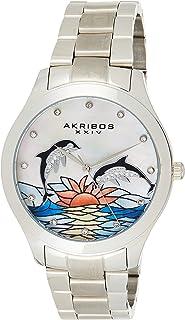 Akribos XXIV Women's AK953DSS Dolphin Style Mother of Pearl Dial Silver Stainless Steel Bracelet Watch