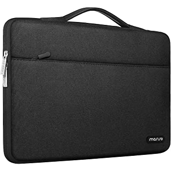 MOSISO 360 Protective Laptop Sleeve Compatible with 13-13.3 inch MacBook Pro, MacBook Air, Notebook Computer, Polyester Bag with Trolley Belt, Black