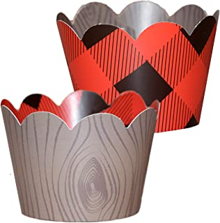 Lumberjack Party Supplies- 36 ReversibleBuffalo Plaid Cupcake Wrappers   Woodgrain Cupcake Holders, Wild One Birthday Decorations, Woodland Party Supplies, Camping Party Decorations