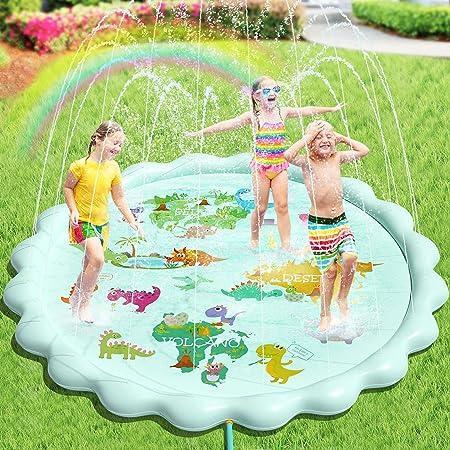 Peradix Splash Play Mat,Splash Pad,170CM Tapete de Aprendizaje para Juego Agua de Salpicaduras y PVC Salpica Almohadilla para Niños para Jardín de Verano Juguetes Acuático (Verde)