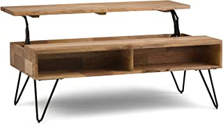 SIMPLIHOME Hunter SOLID MANGO WOOD and Metal 48 inch Wide Rectangle Industrial Contemporary Lift Top Coffee Table in Natur...