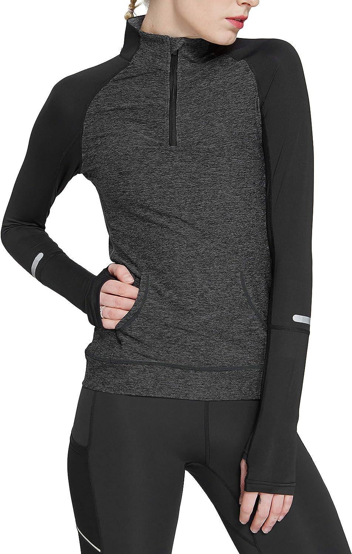 HonourSport Women Yoga Compression Sweatshirts Zipper Long Sleeve Running Shirts