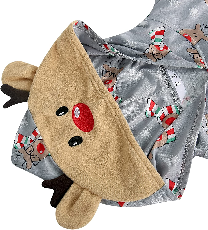 Family Christmas Pajamas Matching Sets Halloween Pajamas, Elk Print Hooded Long Sleeve Sleepwear with Zipper
