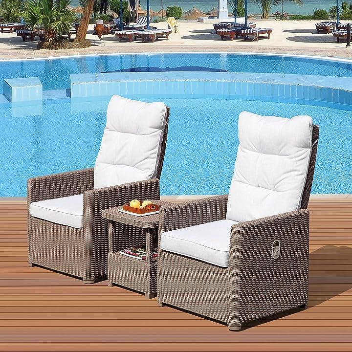 Poltroncine da piscina o giardino reclinabili con tavolino lettini con cuscini - le stelle B089YVFBJK