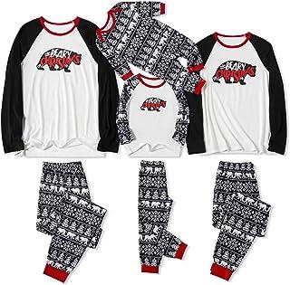 Yaffi Matching Family Pajamas Sets Christmas PJ's Bear Print Top and Pants Sleepwear