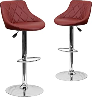 Flash Furniture 2 Pk. Contemporary Burgundy Vinyl Bucket Seat Adjustable Height Barstool with Diamond Pattern Back and Chrome Base