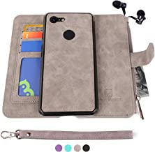 Google Pixel 3 Case, Modos Logicos [Detachable Wallet Folio][2 in 1][Zipper Cash Storage][Up to 14 Card Slots 1 Photo Window] PU Leather Purse with Removable Inner Magnetic TPU Case - Grey