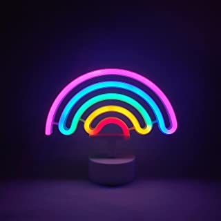 Neon Indoor Night Light, LoveNite Battery Operated Glowing Neon Decorative Sign LED Light for Room Party Festival Decorations (Multi-Colored)