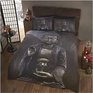 Buddha Metallic Black Grey Full Duvet Pillowcase Comforter Cover Set