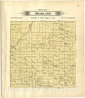 Historic 1903 Map - Plat Book of Lancaster County, Nebraska : containing Carefully Prepared Township plats, Village plats, Analysis of U.S. Land System - Plat of Highland 44in x 51in