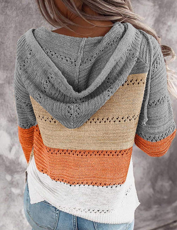 Eddoyee Women Fashion Color Block Cardigan Hoodie Zipper Up Long Sleeve Sweater Tops