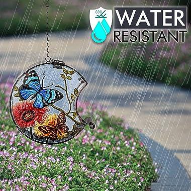TERESA'S COLLECTIONS Metal and Glass Bird Feeder with Solar Powered Lights, Waterproof Outdoors Hanging Hummingbird Wild