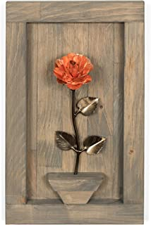 Personalized Gift Hand-Forged Copper Metal Rose with Wood Hanging - 7th Anniversary Gift