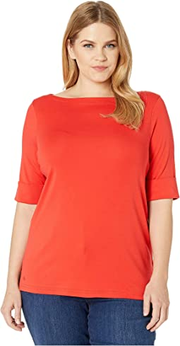 b1044bfefc9937 LAUREN Ralph Lauren. Petite Cotton Boat Neck Top. $28.05MSRP: $39.50. Pink