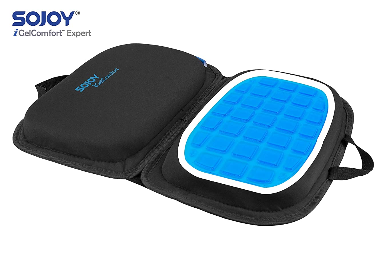 "Sojoy iGelComfort 3 in 1 Foldable Gel Seat Cushion Featured with Memory Foam (A Must-Have Travel Cushion! Smart, Easy Travel Cushion) (Size: 18.5"" x 15"